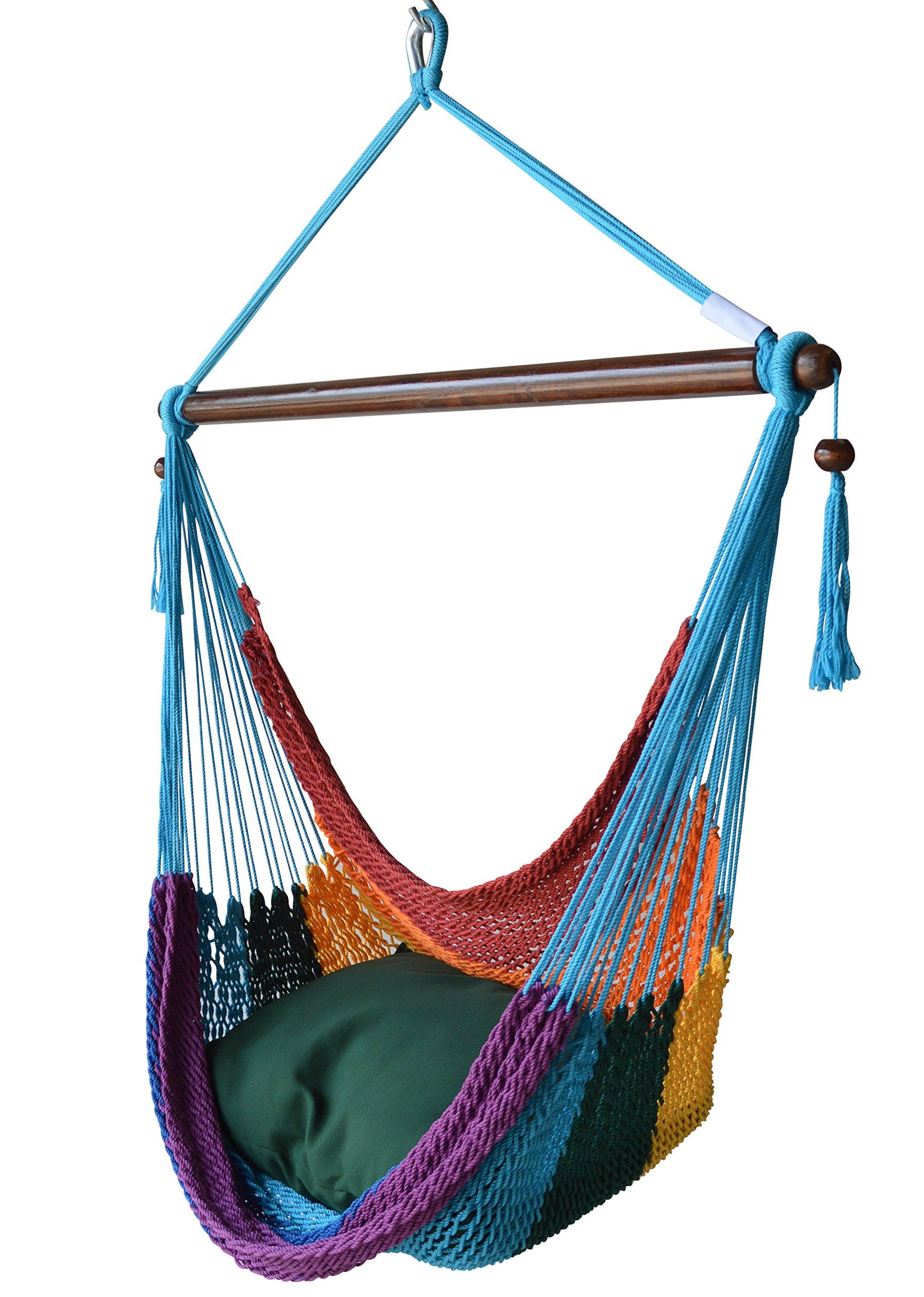 Caribbean Hammocks Chair with Footrest - 40 inch - Soft-Spun Polyester - (Rainbow)