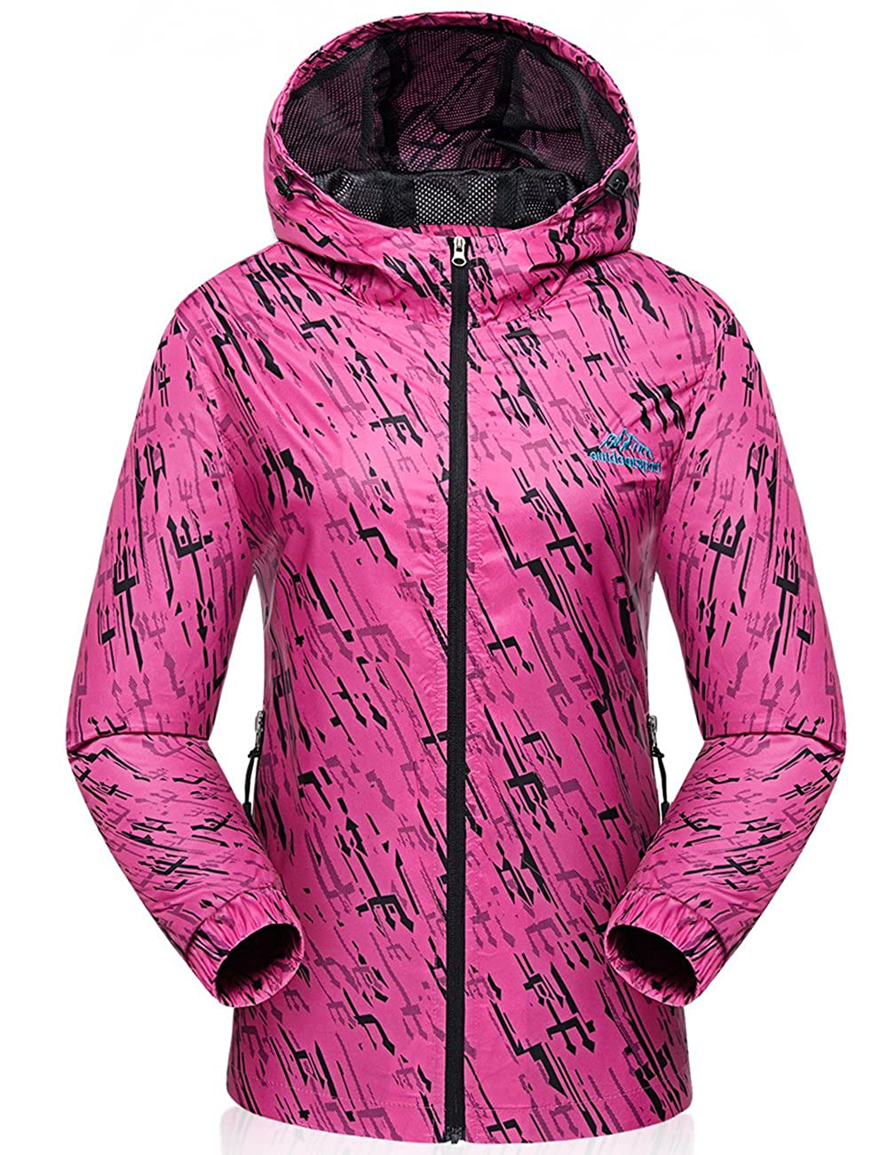 Yifun Outdoor Womens Waterproof Windproof Jacket Raincoat Lightweight Windbreaker
