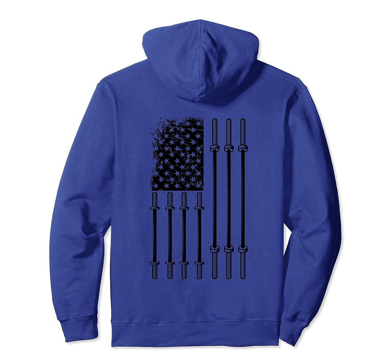 Barbells US Flag Weightlifting Hoodie Patriotic Back Design- TPT