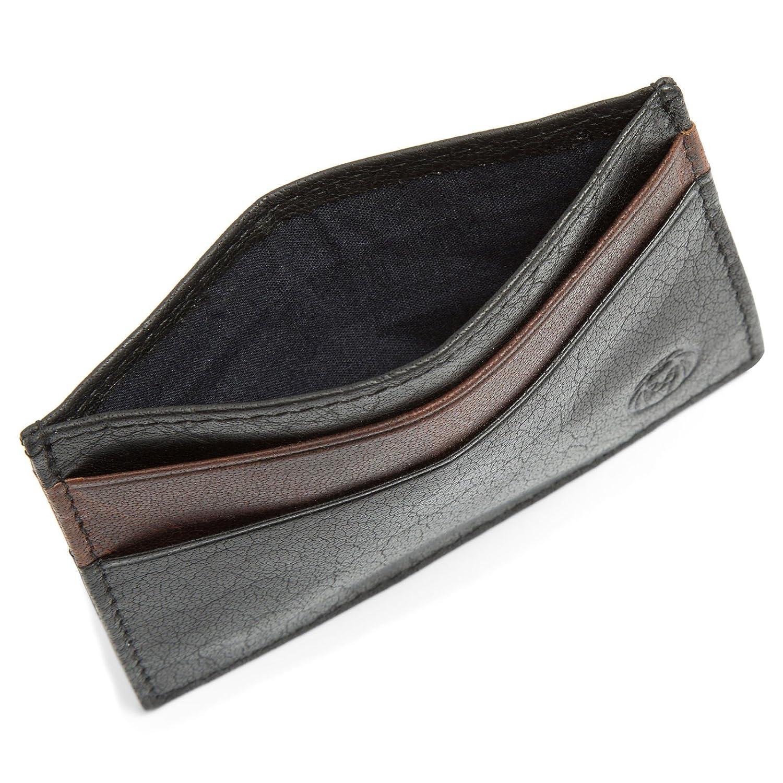 Lucleon Mini porte-cartes Montreal en cuir noir et marron RFID