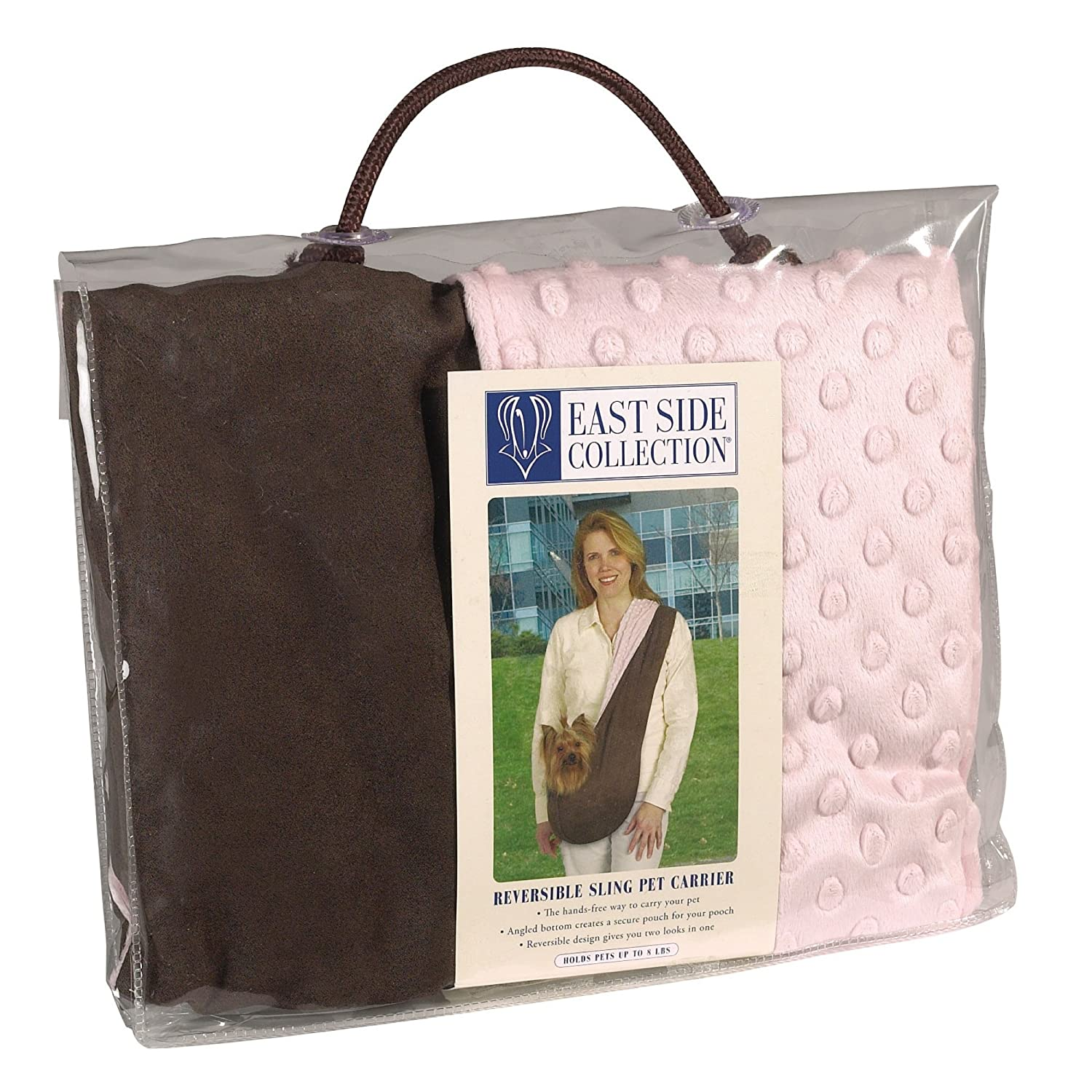Brown Pink East Side Collection Reversible Sling Pet Carriers Versatile Polyester Over-The-Shoulder Carriers for Small Dogs, Brown Pink