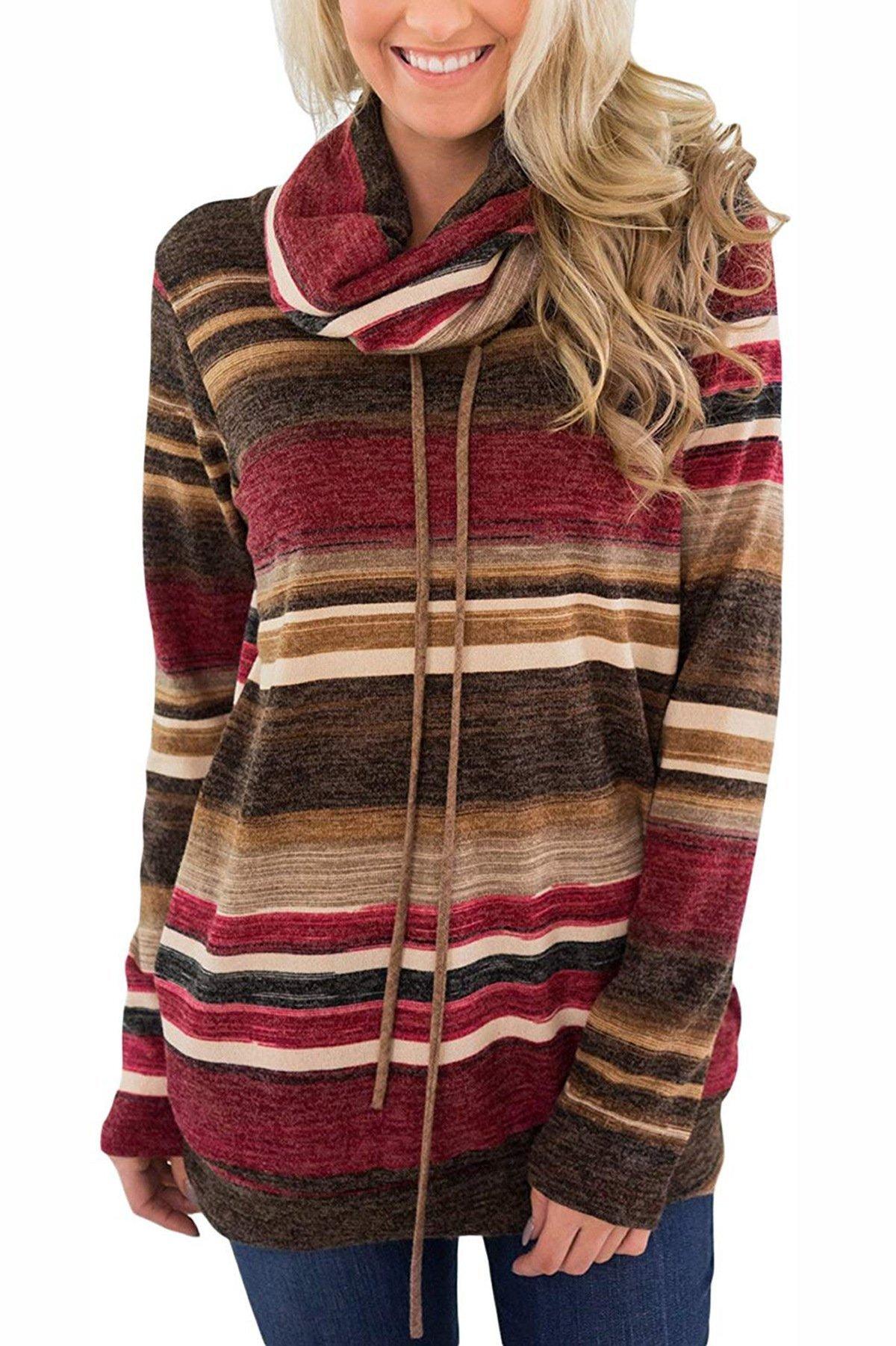 MBQMBSS Womens Sweatshirt Cowl Neck Long Sleeve Striped Pocket Drawstring Pullover Top Sweatshirt (L, red)