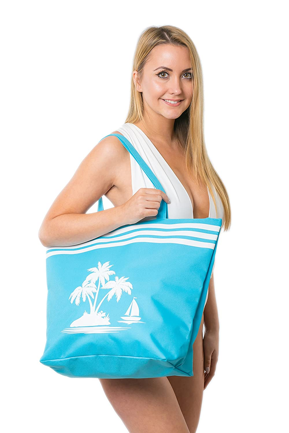 Beach Bag Womens Large Summer Canvas Tote Bags Zip Closure