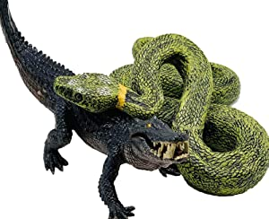 Higherbros Crocodile and Boa Constrictor Alligator and Python Set Marsh Animals Figures for Children's Animal Figurines Toys Bath Toys Beach Toys Prank for Home and Garden Decorating