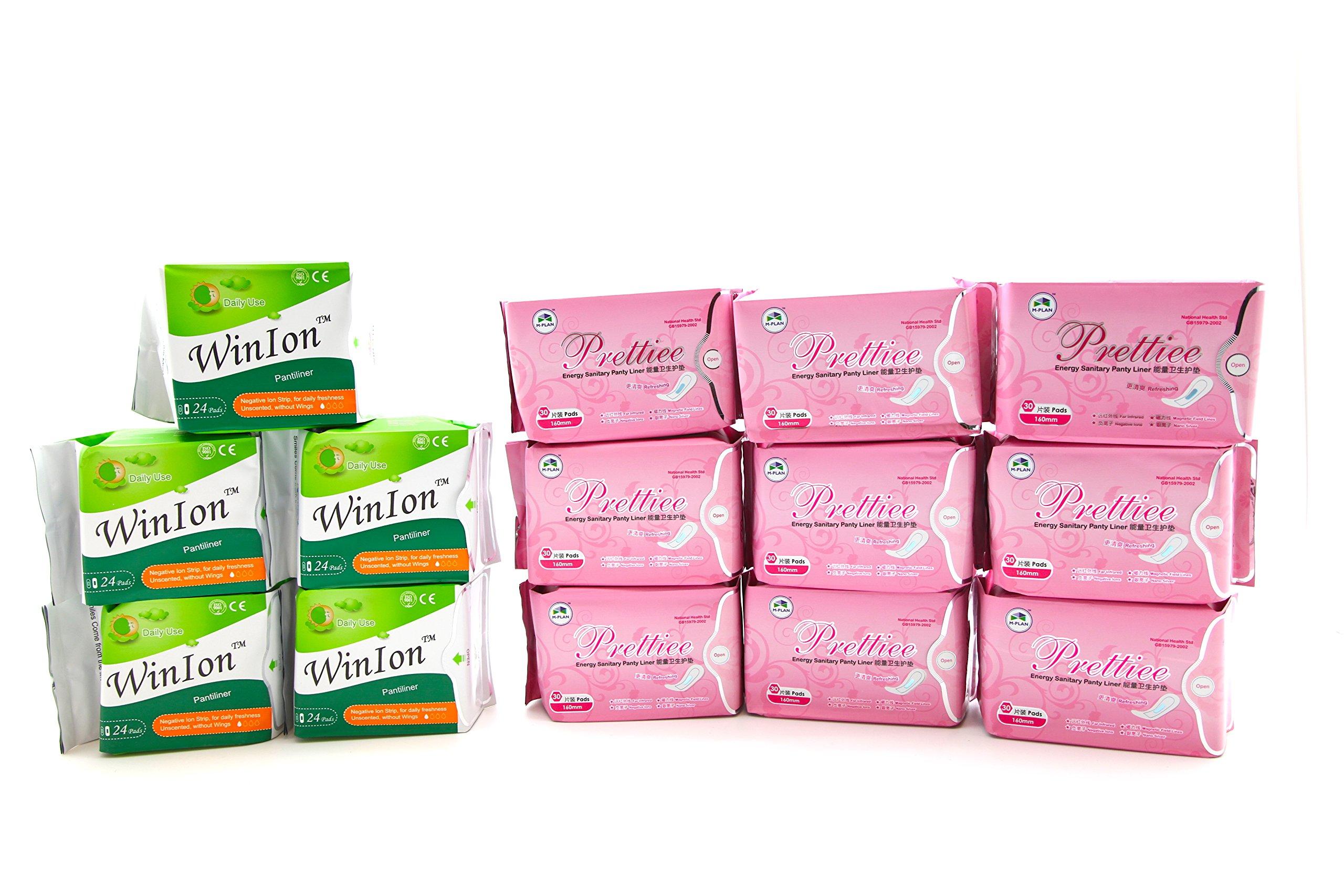 5 packs Winion Pantiliner + 9 packs Prettiee Energy Sanitary Panty liner by Prettiee (Image #1)