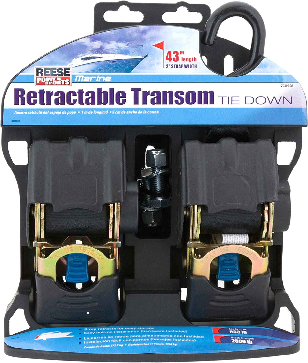 """Reese Powersports (2060300) 43"""" 2-Piece Retractable Transom Tie Down: Automotive"""