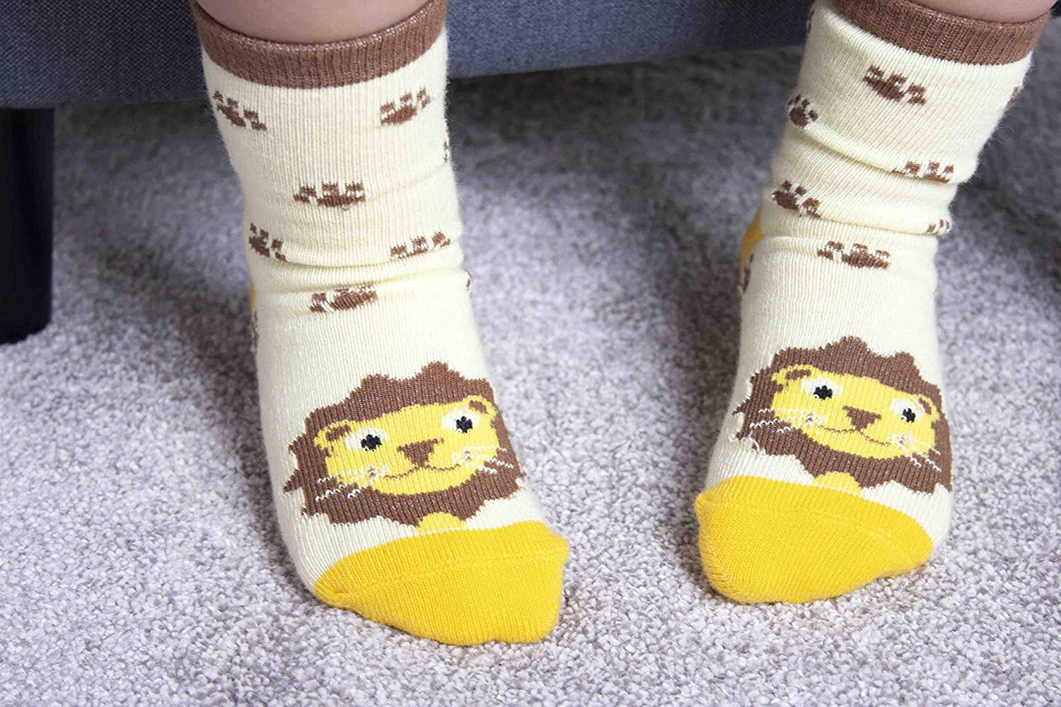 Soft Baby Socks with Characters Terrence Tiger and Livingstone Lion by Ziggle Cute