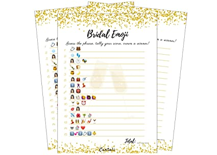 bridal shower games 25 pack emoji pictionary games for engagement wedding and