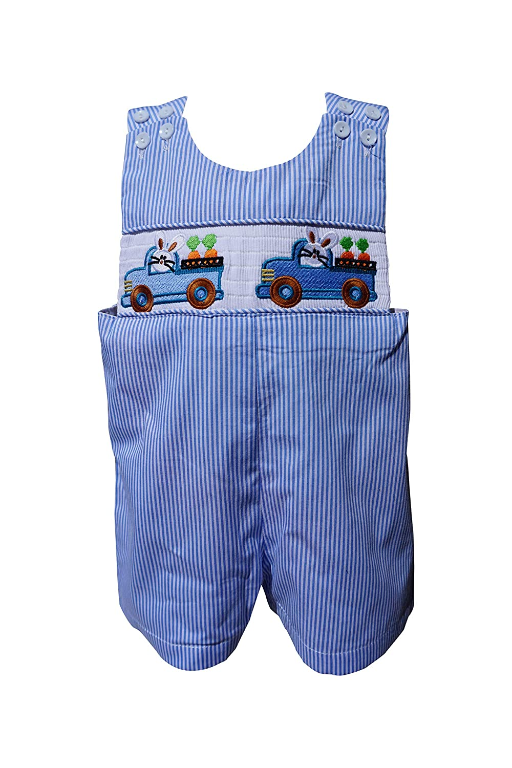 Lil/' Cactus Easter Gingham Checked Overalls with Bunny Smocking