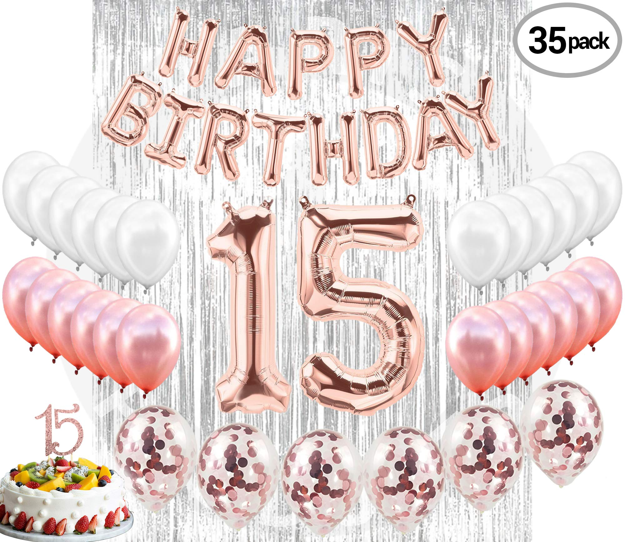 15th BIRTHDAY DECORATIONS| Quinceanera 15 Birthday Party Supplies| 15 Cake Topper Rose Gold| Banner| Rose Gold Confetti Balloons for her Silver Curtain Backdrop Props for Photos 15th Bday