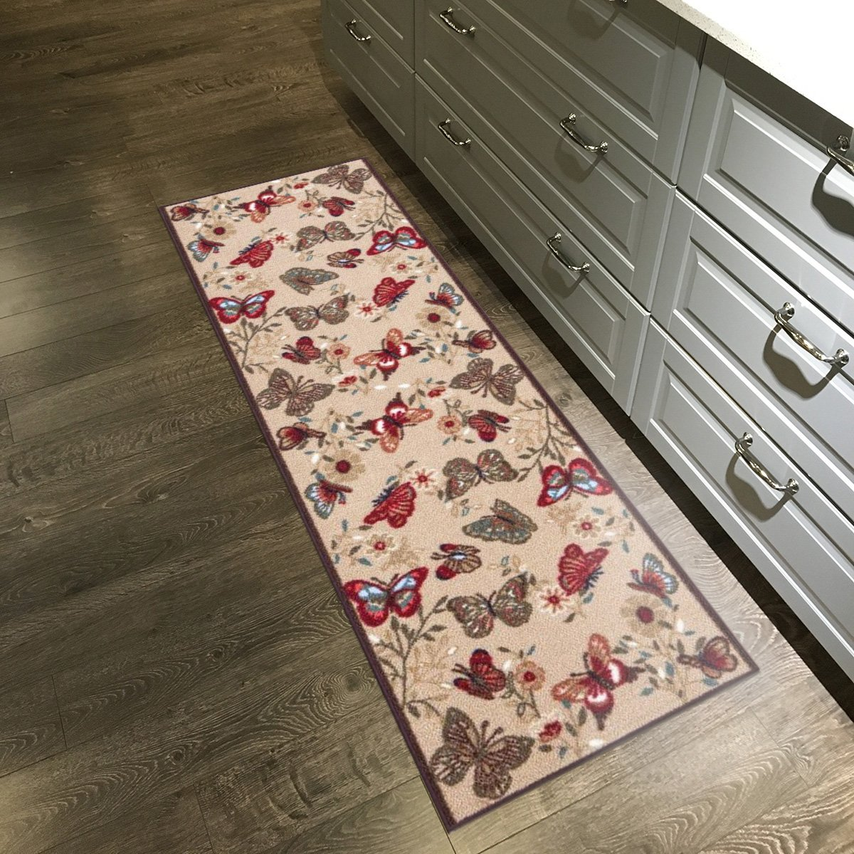 Custom Size Multicolor Butterflies Non-Slip Rubber Backed Hallway Carpet Runner Rug | 22-inch x 1-Foot Kapaqua 1206-1