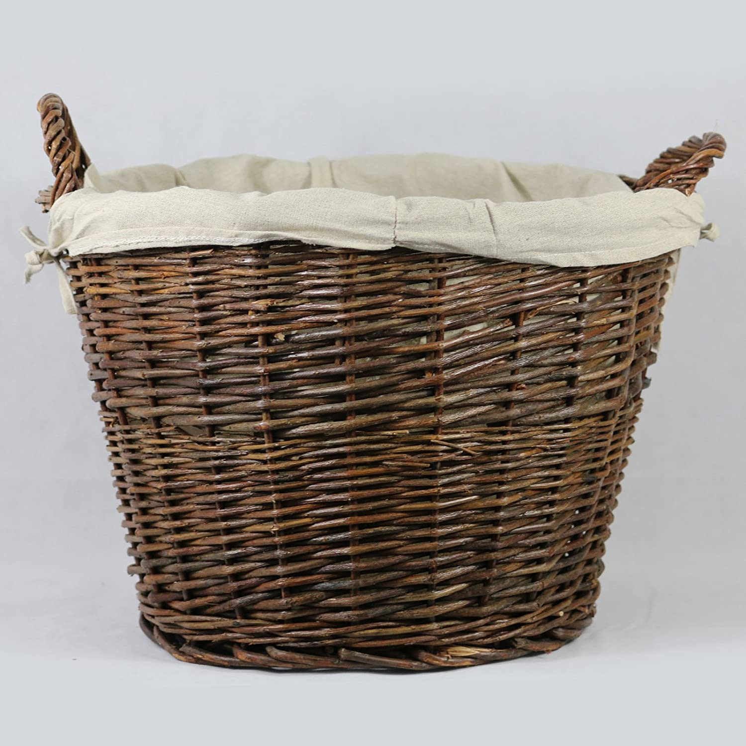 Inglenook ROUND WICKER Log Basket With REMOVABLE Lining- (FIRE161)