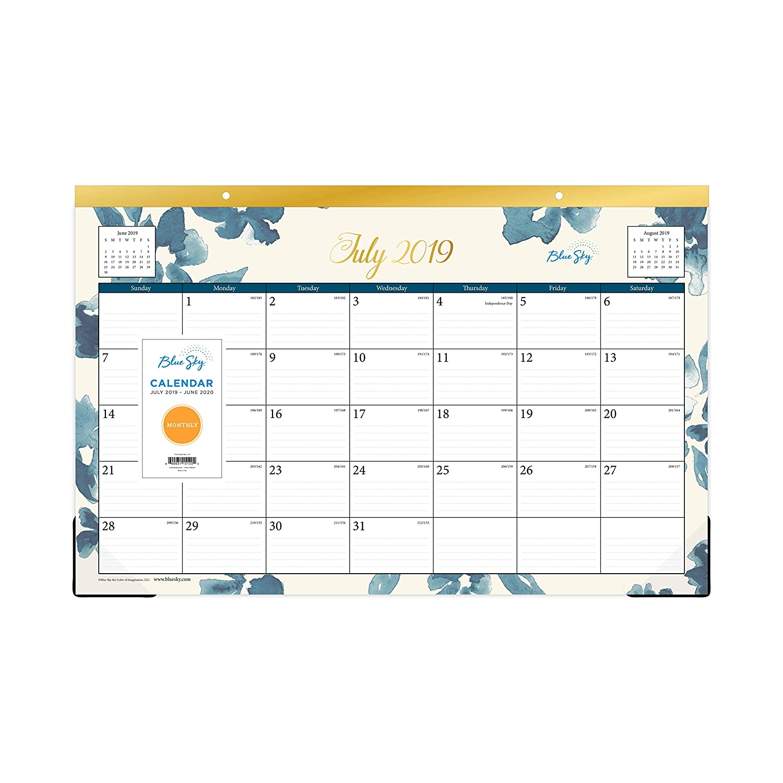 "Blue Sky 2019-2020 Academic Year Monthly Desk Pad Calendar, Ruled Blocks, 17"" x 11"", Bakah Blue"