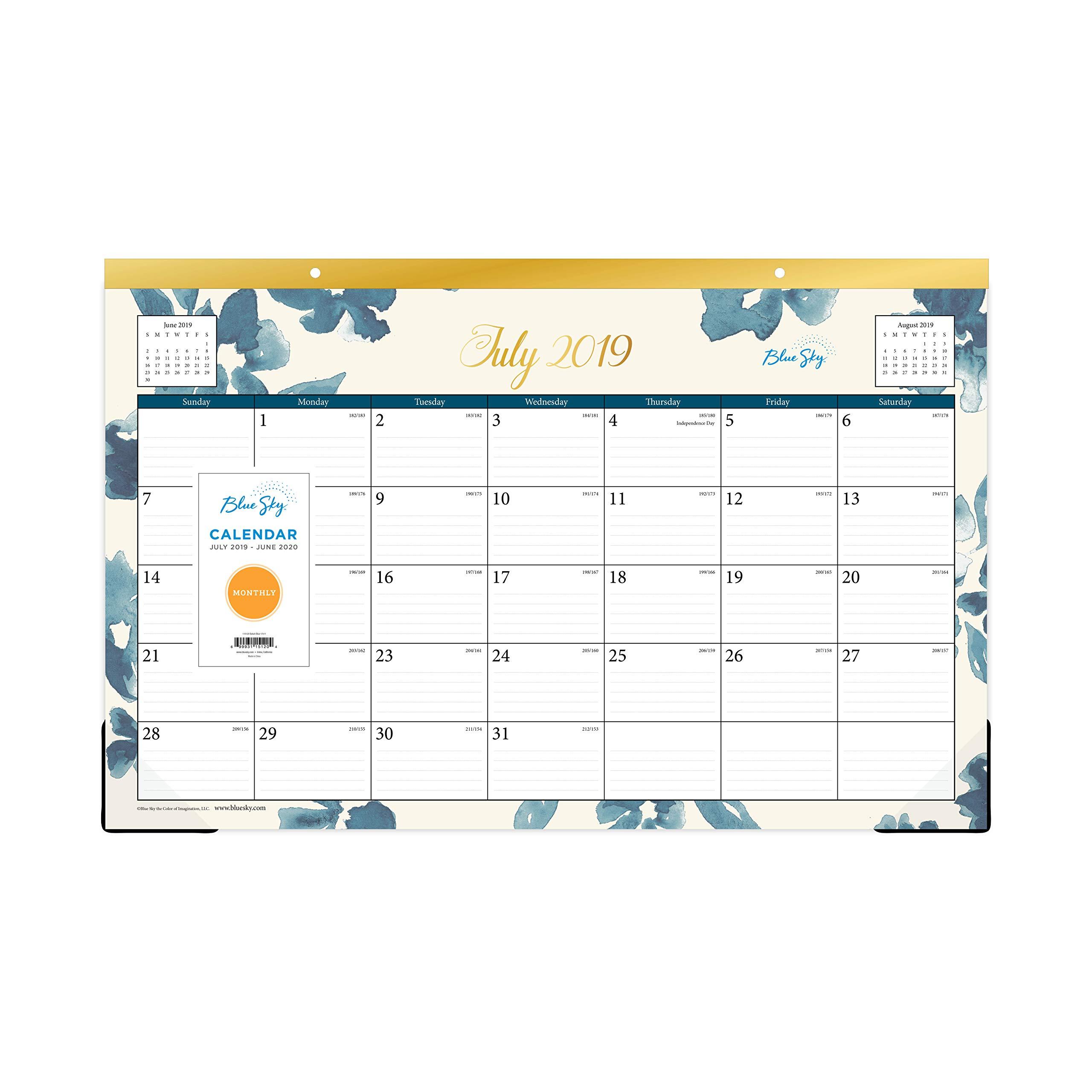 Blue Sky 2019-2020 Academic Year Monthly Desk Pad Calendar, Ruled Blocks, 17'' x 11'', Bakah Blue by Blue Sky