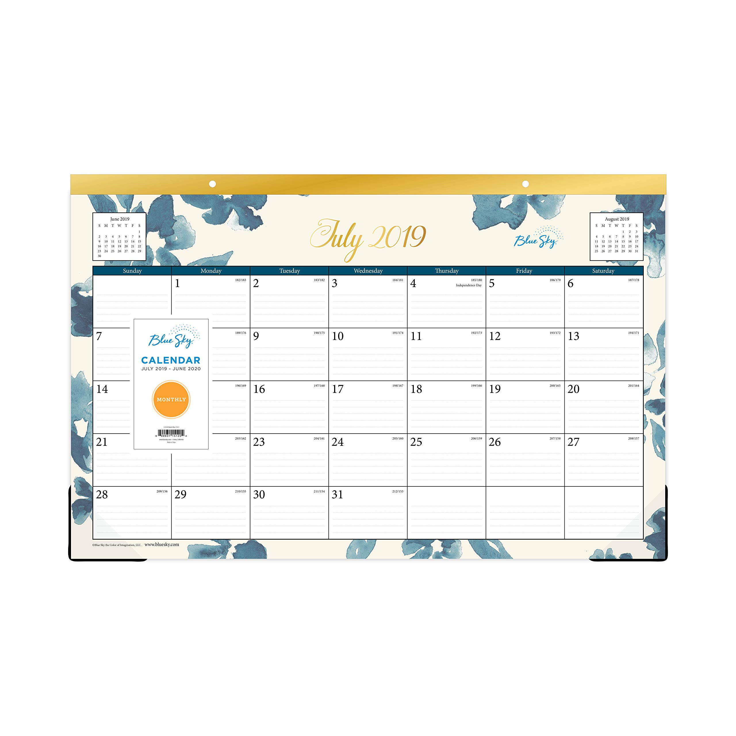 Blue Sky 2019-2020 Academic Year Monthly Desk Pad Calendar, Ruled Blocks, 17'' x 11'', Bakah Blue