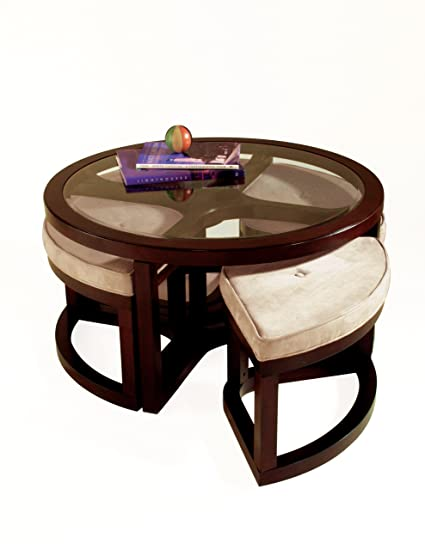 Amazoncom Magnussen Juniper Wood Round Cocktail Table With - Cocktail table with 4 stools