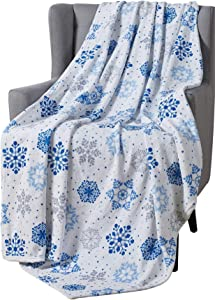 Winter Decorative Throw Blanket: Soft Comfy Fleece Velvet Plush Flurries of Snowflakes, Accent for Couch Bed Chair, Blue Grey White (Snowflakes)