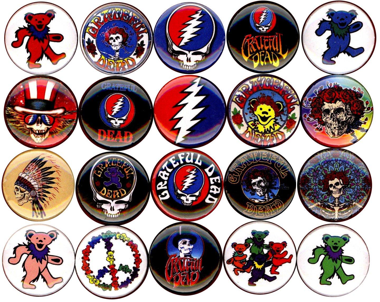 Grateful Dead x 20 1'' inch (25mm) NEW buttons pin badge logo jerry garcia bear the head