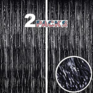 GILF 2 Packs Shimmer Metallic Fringe Tinsel Foil Curtains 3.3ft x 8.2ft for Wedding Bridal Shower Birthday Party Baby Shower Graduation Photo Booth Backdrop Decoration Props (Black)