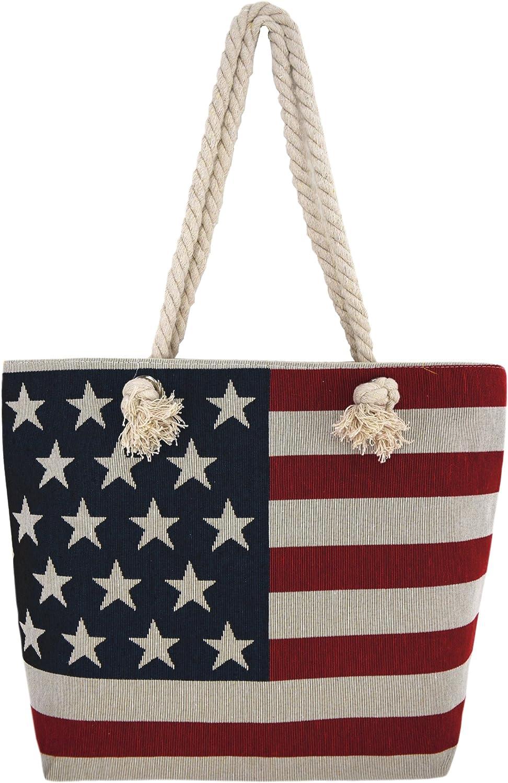 Western Origin - Bolso bandera de Estados Unidos bordado con diseño de estrellas y rayas para la playa, con asas de cuerda para el hombro, bolso de mujer: Amazon.es: Hogar