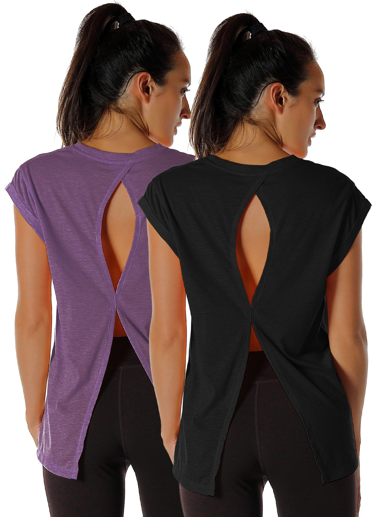 icyzone Open Back Workout Top Shirts - Yoga t-Shirts Activewear Exercise Tops for Women (M, Black/Grape)
