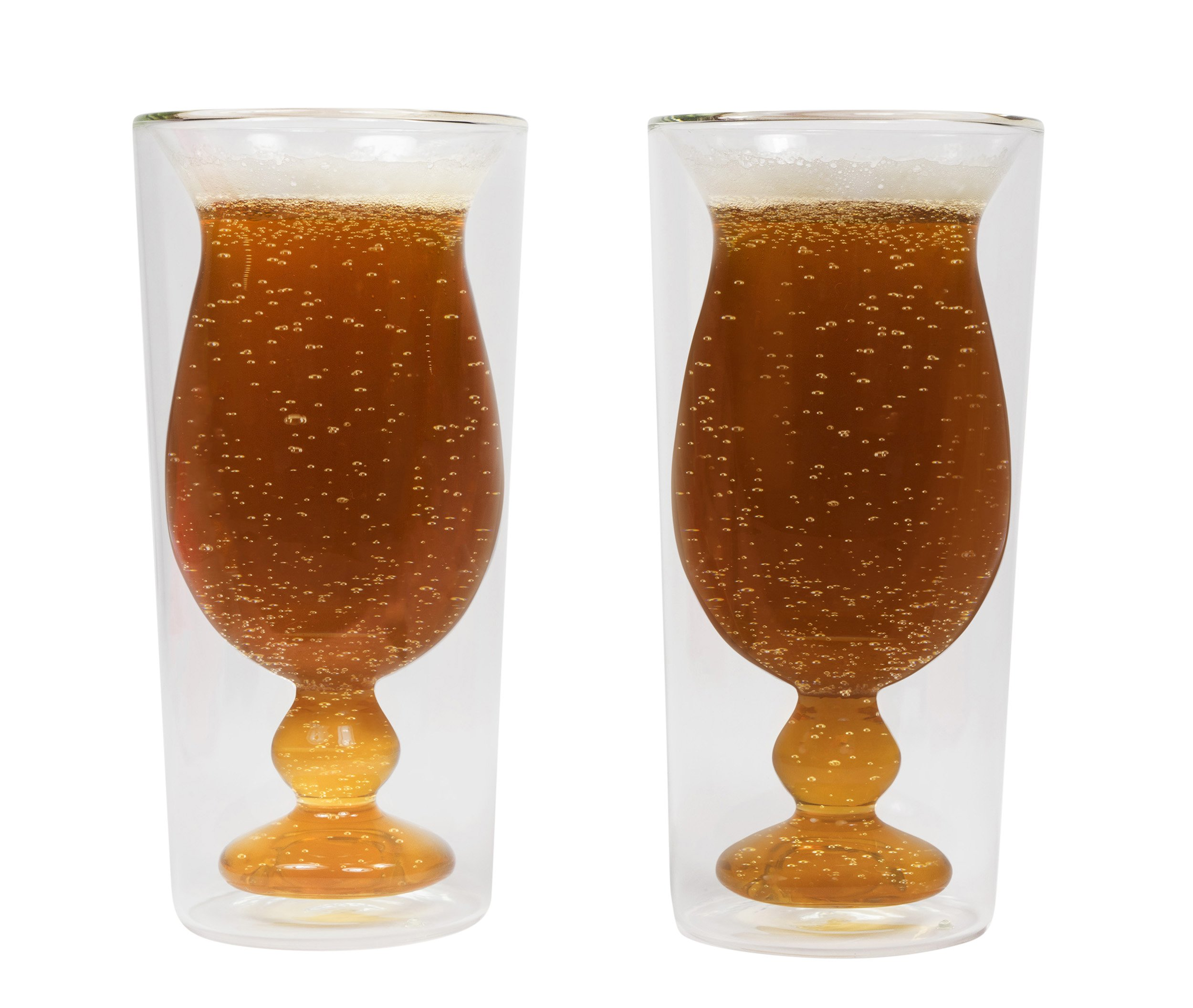 Sage Double Wall Tumbler Glass - Set Of 2 - Unique Stemware Design For Beer, Wine, Mixed Drinks, And More! 14 Oz.