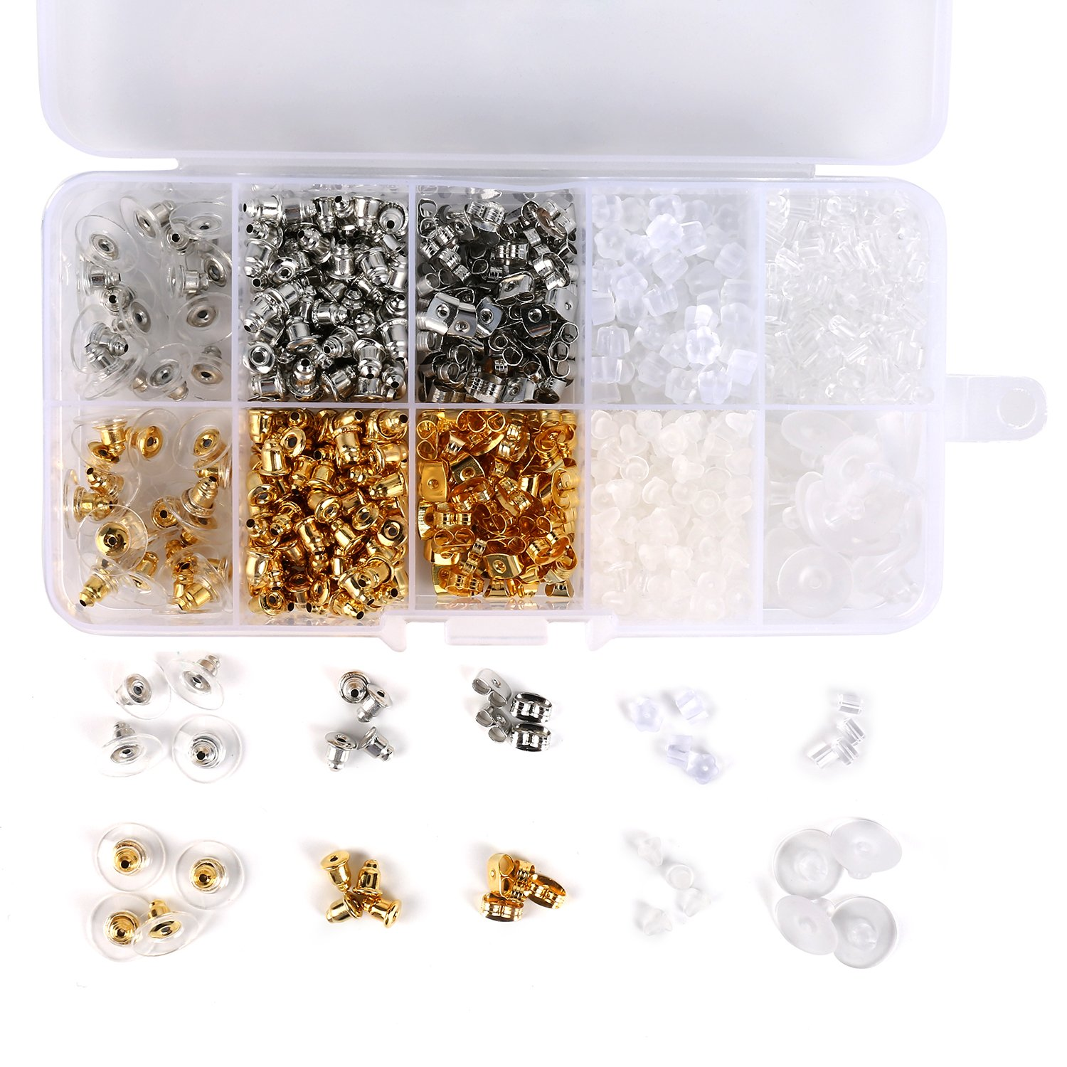 1040pcs Earring Backs, BetyBedy 10 Styles Earring Backings Kit, Metal Plastic Rubber Earring Back Clips Bullet Butterfly Flower Shape