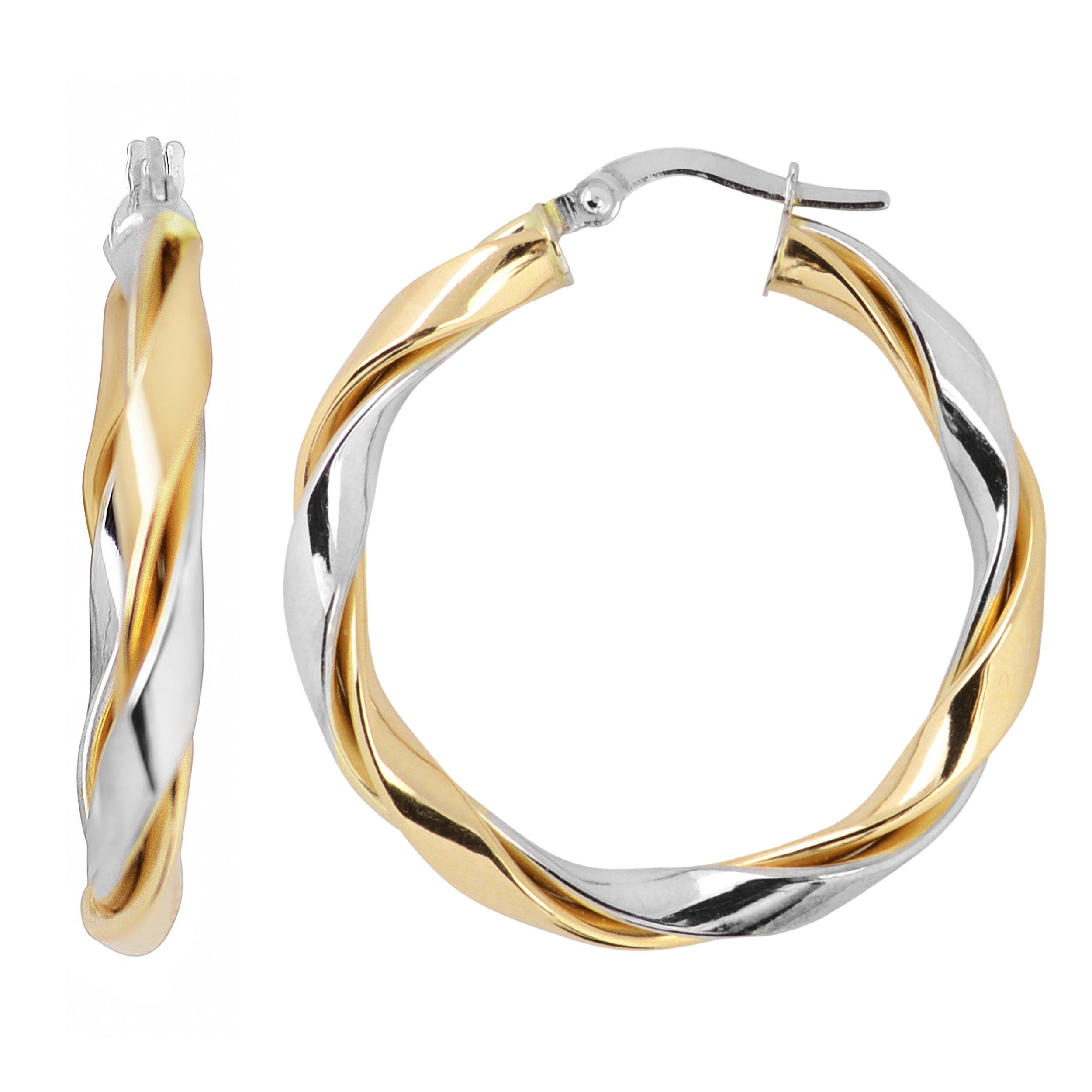 14k Two-tone Gold High Polish Twisted Hoop Earrings