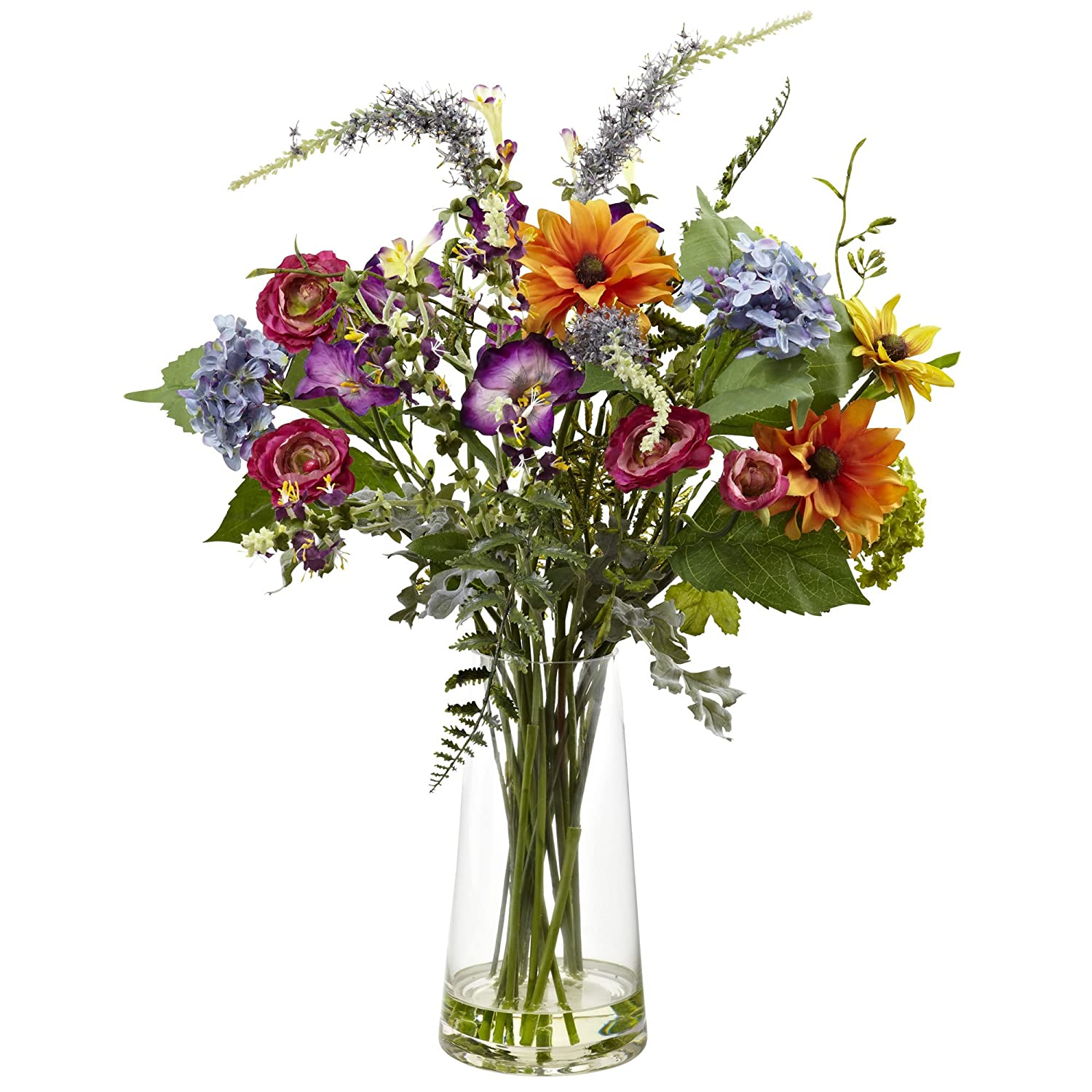 Nearly Natural 4822 Spring Garden Floral Arrangement with Vase