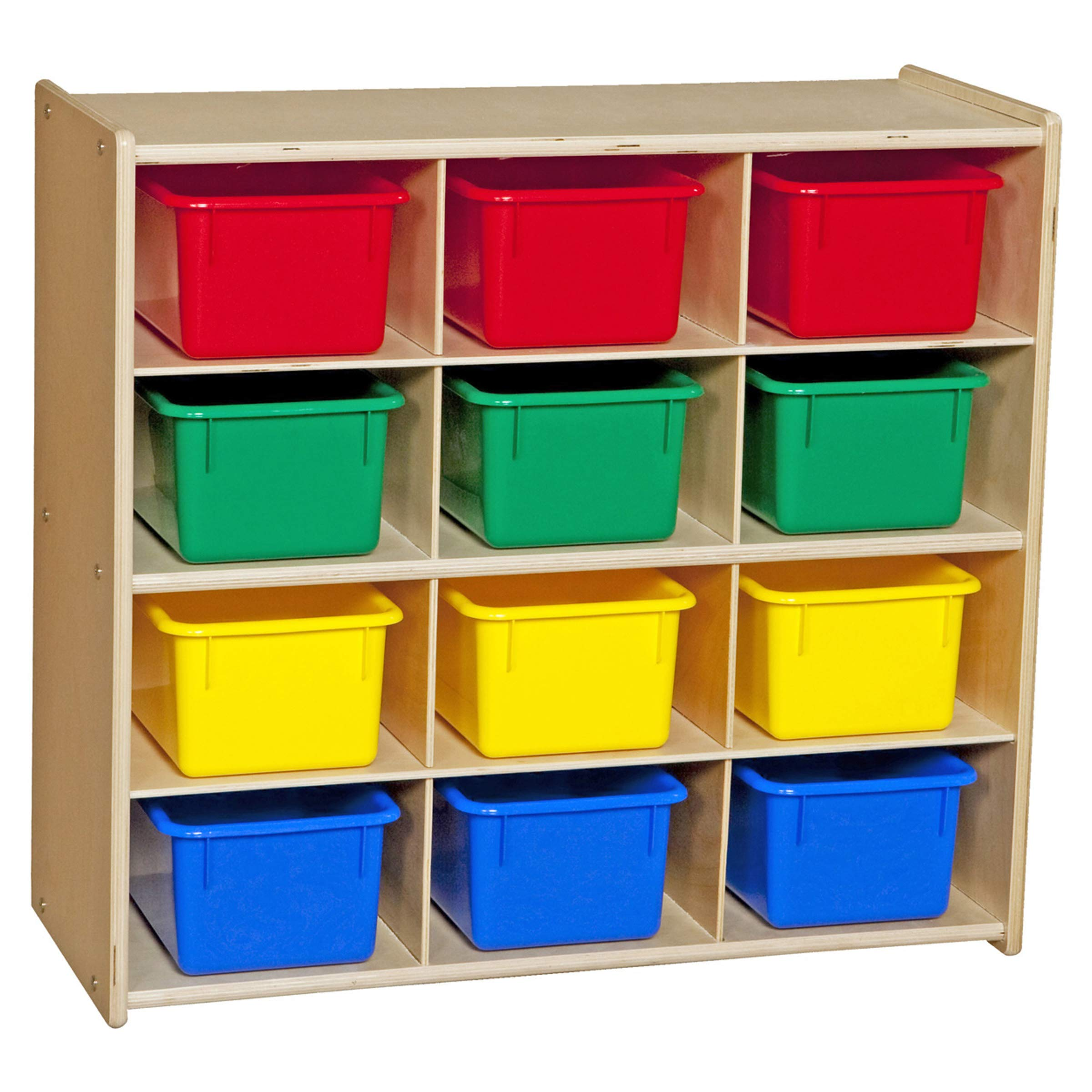 Contender Baltic Birch 12-Cubby Storage Unit w/Colorful Tubs - Assembled by Contender
