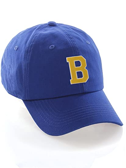 1728bbade94 Custom Dad Hat A-Z Initial Letters Classic Baseball Cap - Blue Hat with  White Gold Letter