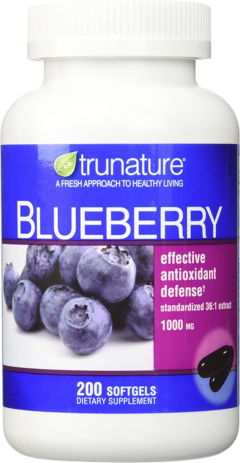 TruNature Blueberry Standardized Extract 1000 mg per 2 Capsules - 200 Softgels