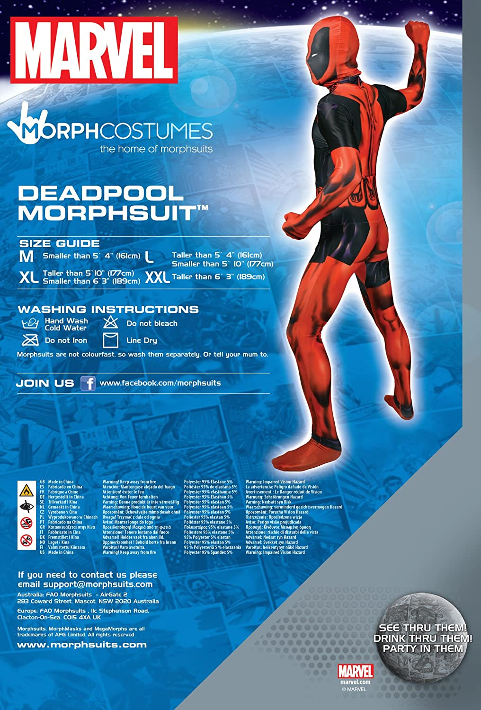 Morphsuits MLDPX - Deadpool trajes adultos, XL, 180 a 186 cm, multicolor