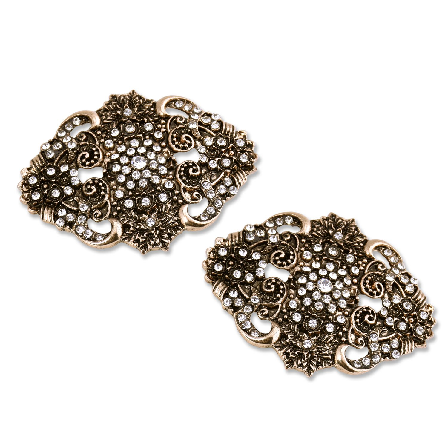 ElegantPark BM Vintage Flowers Rhinestones Wedding Party Decoration Shoe Clips Antique Gold 2 Pcs