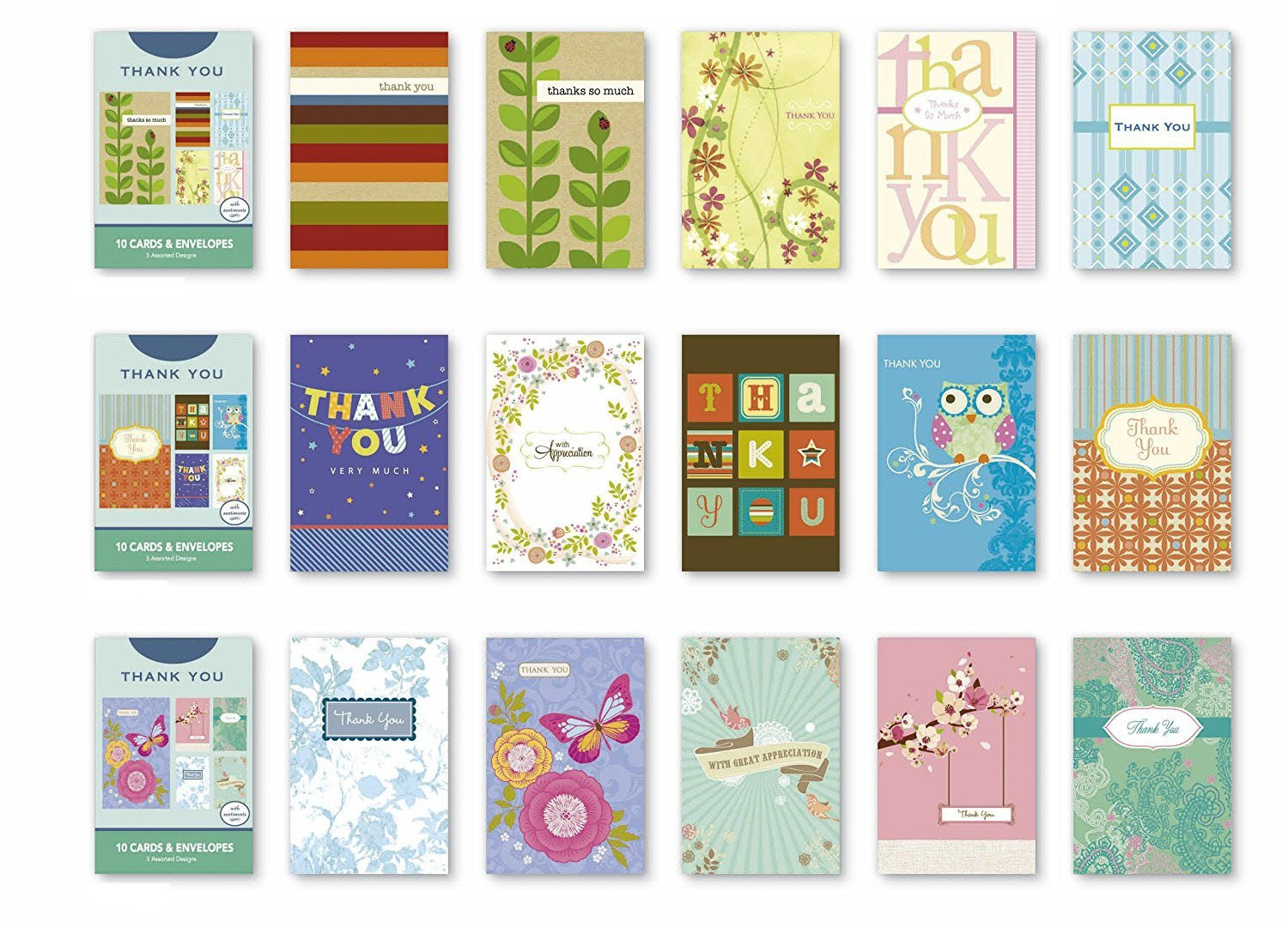 Amazon Value Pack Assorted Thank You Appreciation Cards Bulk
