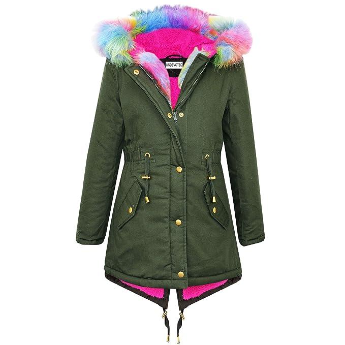 NEW Women/'s Padded Faux Fur Trim MILITARY JACKET Ladies COAT Size 8 10 12 14 16