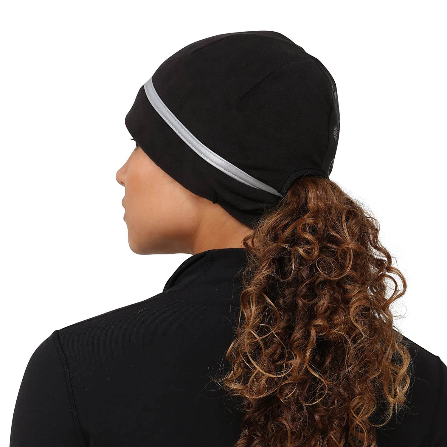 TrailHeads Womens Ponytail Hat Reflective Cold Weather Running Beanie Made in USA