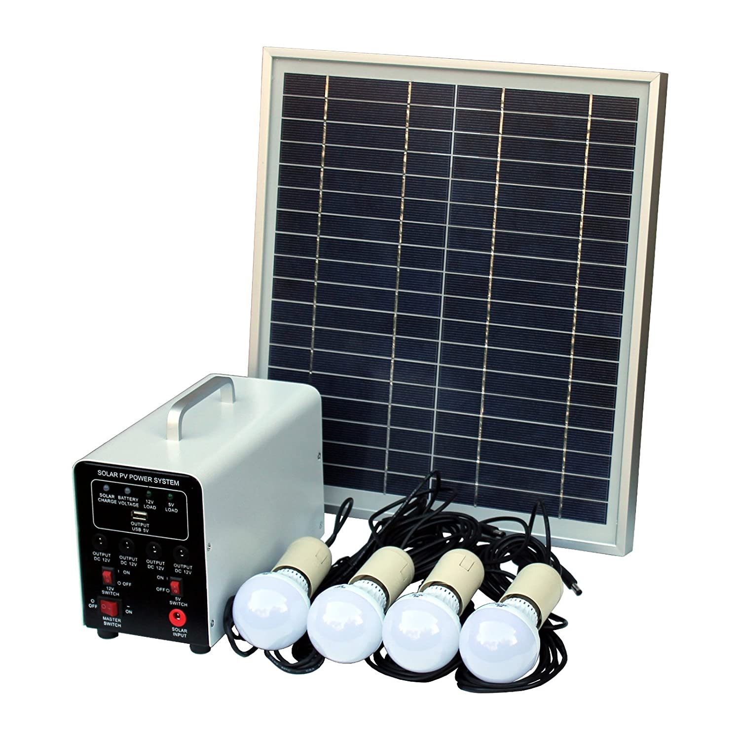 15W Off-Grid Solar Lighting System with 4 LED Lights, Solar Panel, Battery and Cables - Complete Solar Lighting Kit Photonic Universe SL-15W