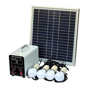 15 W off-Grid sistema de Solar con 4 LED luces, Panel Solar, batería y Cables - completo de accesorios de iluminación Solar: Amazon.es: Hogar
