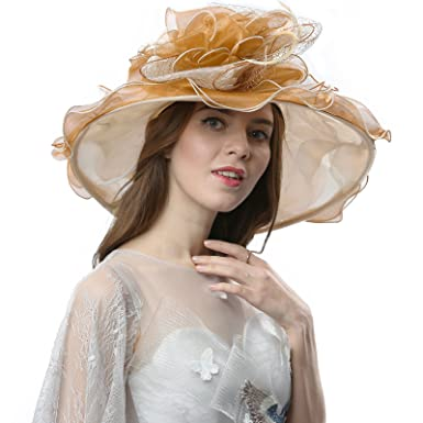 Janey Rubbins S5210 Elegant Organza 5.6 quot  Wide Brim Church Dress Derby  Hat (42B-Beige f9fd5d68eed