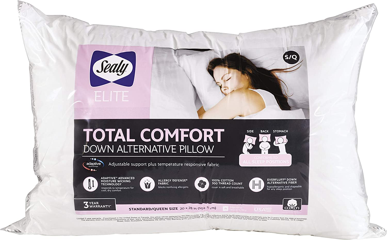 Amazon Com Sealy Elite Total Comfort Down Alternative All Position Bed Pillow Home Kitchen