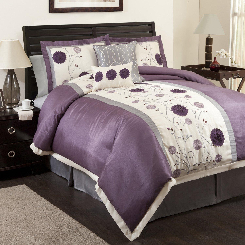 Amazon com lush decor juliana 6 piece comforter set queen purple gray home kitchen
