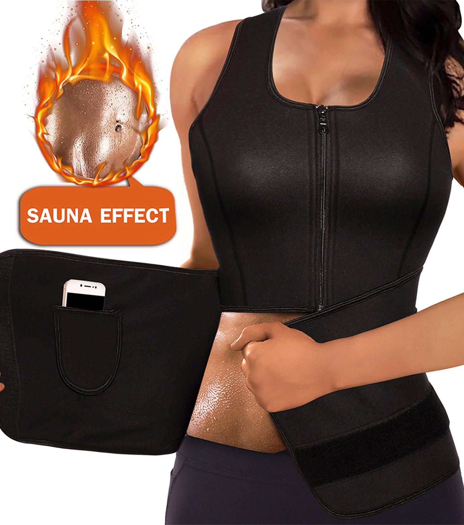 91b3b22eecf6b LODAY Women Neoprene Body Shaper Sauna Suit Gym Workout Tank Top Vest with  Adjustable Waist Trainer Trimmer Belt (Black(Zipper Sweat Shirts)