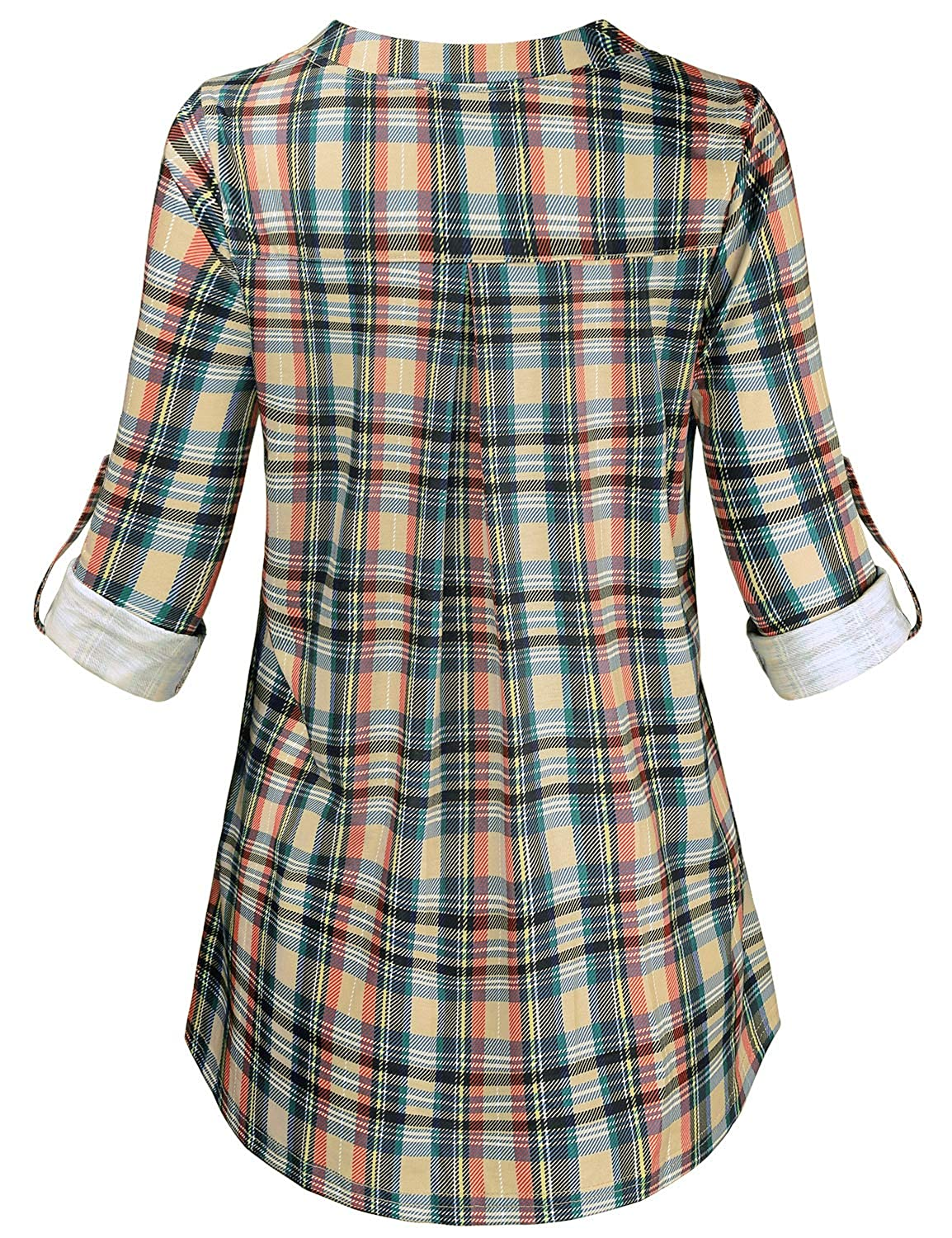 8cd0fa2df5e Baikea Women s 3 4 Rolled Sleeve Zipped V Neck Plaid Shirt Casual Tunic  Blouses at Amazon Women s Clothing store