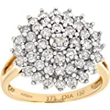 Revoni - 9ct Yellow Gold Diamond Cluster Ladies Ring