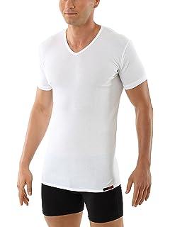 ALBERT KREUZ Camiseta Interior Blanca de Manga Corta con Cuello de Pico y de algodón elástico: Amazon.es: Ropa y accesorios