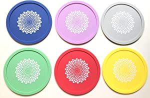 Robbins Aria No Fly Zone - Soft Coaster and Wine Glass Cover for Bugs. Silicone Wine Tops (Multicolor White Dot, 6)