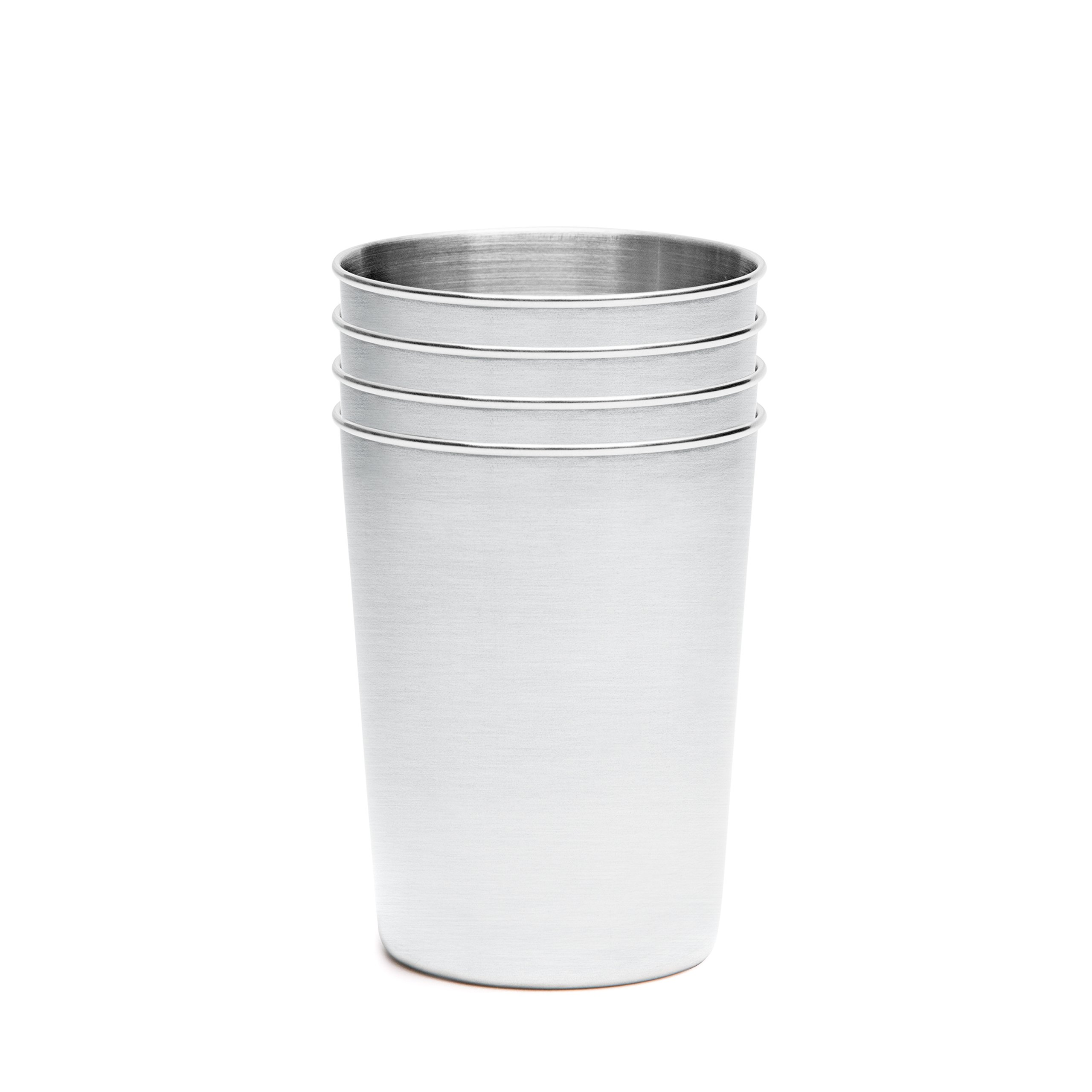 +Steel Stainless Steel Children's Cups 10oz, Set of 4 18/8 Stainless Steel Cups, Unbreakable Dishwasher Safe BPA Free