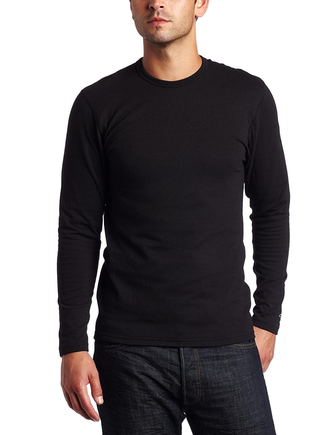 Duofold Men's Expedition Weight Two-Layer Thermal Tagless Crew, Black, Small 820A