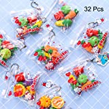Pruk 32 Pack Food and Dinosaur Erasers, 3D Cute